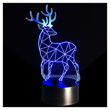 3D Optical Illusion Lamp 7 Colors Change Touch Button Christmas Reindeer LED Night Light Black+Transparent(China)