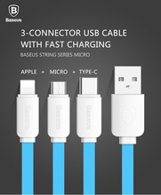 BASEUS Brand 3 in 1 String Series Micro USB + Type-C + 8P Data Charging Cable for iPhone/For New Macbook/LG G5/Samsung, 1.2M