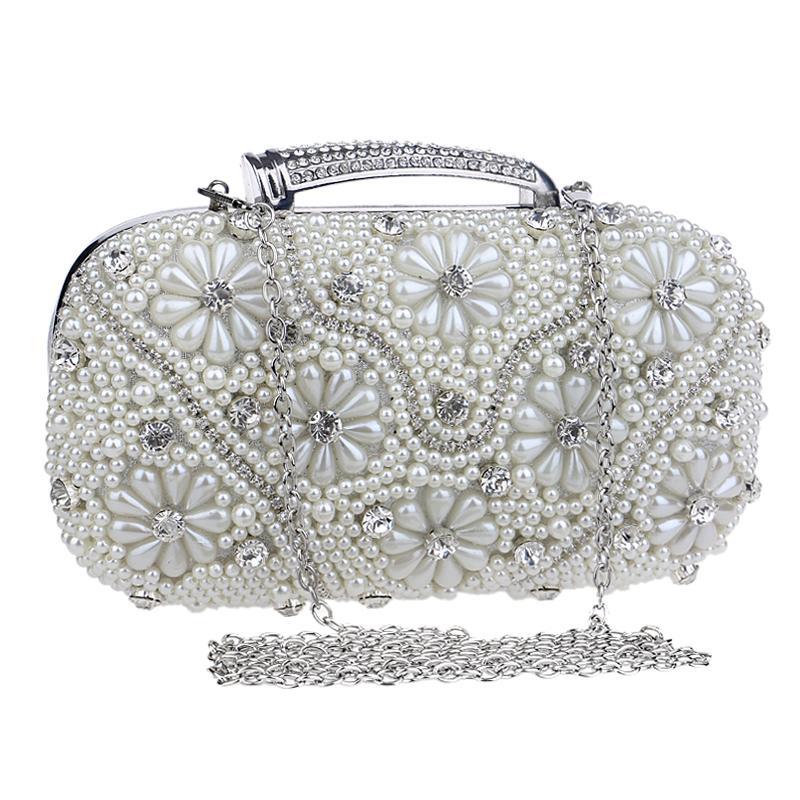 NEW  beaded wedding bridal handbags pearl evening bags diamonds purse evening bag for girls gift<br><br>Aliexpress