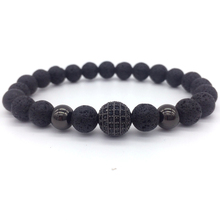 NAIQUBE 2017 New Fashion High Quality Natural Stone Beads And Black CZ Ball Men Charm Bracelets Men Jewelry Gift.(China)