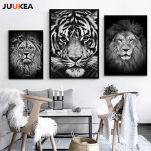 Modern Distinctive Black White Animal Tiger Lion Face HD Photography Art Canvas Print Painting Poster Wall Pictures Home Decor(China)