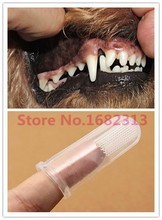 2015 Super Soft Pet Finger Toothbrush Teddy Dog Brush Bad Breath Tartar Teeth Care Dog Cat Cleaning Supplies(China)