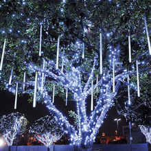 TSLEEN 2835 LED Meteor Light 85-265V Snow Fall Shower 10Tubes Lamp Outdoor Christmas Xmas Tree US/EU Plug