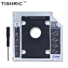 "TISHRIC Universal Aluminum 2nd HDD Caddy 12.7mm SATA 3.0 2.5"" for Notebook 12.7mm ODD DVD-ROM Optibay Case SSD Box Enclosure"