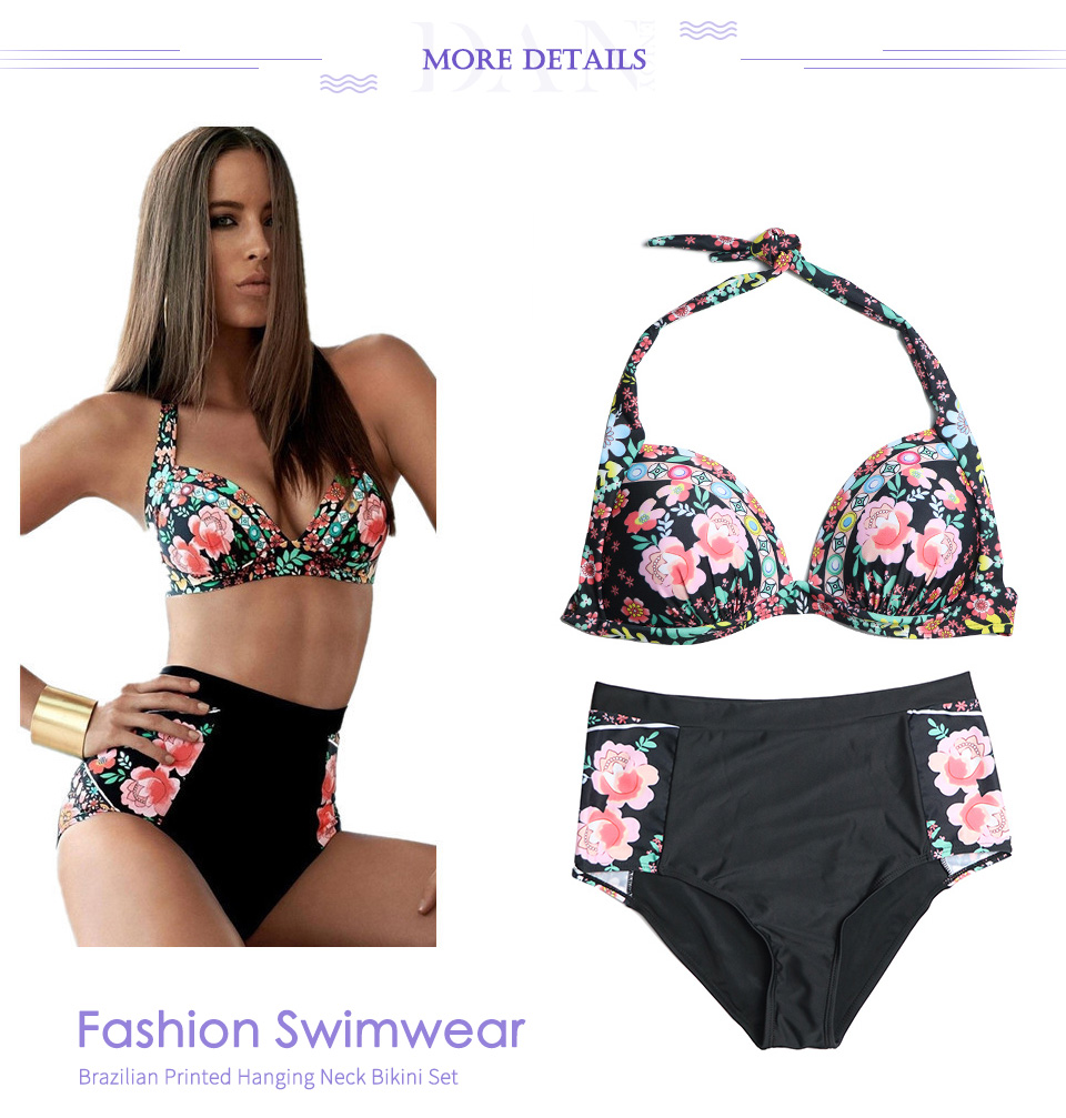 DANENJOY Sexy Printing Bikini Set Women Swimsuit Push Up Brazilian Swimwear 17 High Waist Biquines Feminino African Beachwear 17
