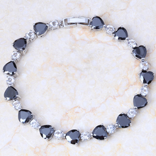 Free Shipping Heart-shaped Silver Plated Black Crystal Bracelets For Women's Fashion Jewelry S132