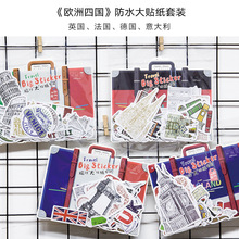 50 pcs/pack Four European Countries Travel Big Stickers Decorative Stationery Craft Stickers Scrapbooking DIY Stick Label