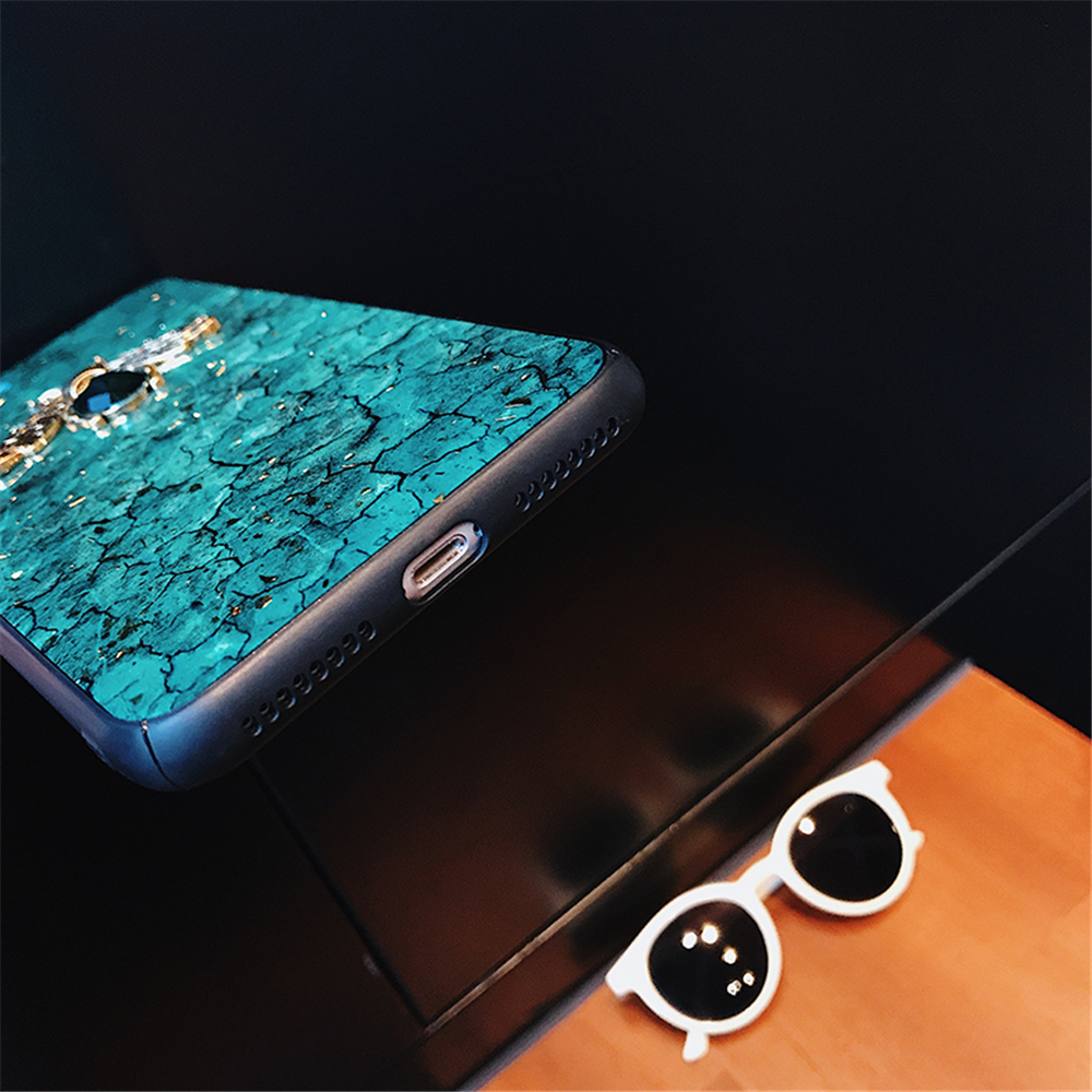 Luxury Green Diamond Crack Marble Phone Case For iphone 7 8 6 6s Plus Bee With Wing Funda cover for iphone XS MAX XR X back   (12)