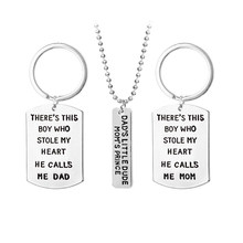 3pcs Dad Mom Son Charm Pendant Necklace Key Chain For Family Gift Mother Father Birthday Gifts