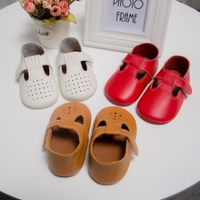 Top Quality Rubber Sole T-bar hollow Summer Genuine Leather Baby Moccasins Baby Boys Shoes Girls Anti-slip sandals summer shoes