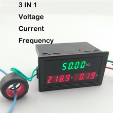 3IN1 LED display panel meter with Voltmeter ammeter voltage current frequency 80-300V 200-450V 100A(China)