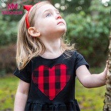 Girls black dress cartoon Toddler Kids Baby Girls Heart Plaid Princess Dress Sundress Outfits stitching girl dress Clothes(China)