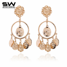 STARWORLD Catwalk Baroque Mississippi Avatar Coin Circle Stud Earrings Temperament Popular Jewelry Earrings Gifts For Women(China)