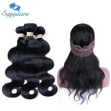 Sapphire Virgin Hair Brazilian Body Wave 360 Lace Frontal Closure With Bundles 2/3 Human Hair Bundles With Lace Frontal(China)
