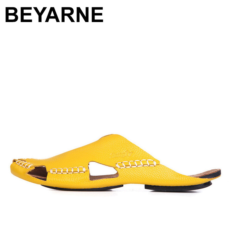 BEYARNE  Women Sandals 100% Authentic Leather Gladiator Sandals Women Summer Shoes Beach Slides Ladies Shoes<br>