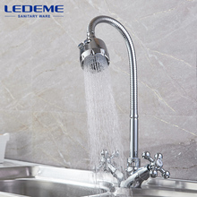 LEDEME Kitchen Faucet Dual Holder and Two Kinds of Water Way Outlet Pipe Tap Basin Plumbing Hardware Brass Sink Faucet L4319-3