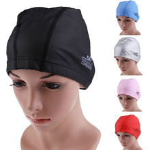 2017 New PU Coating Cover Waterproof Protect Ears Long Hair Sports Swim Pool Hat Swimming Cap Free size for Adults EA14(China)