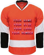 Custom Hockey Jerseys OEM Premier Replica Home Mens Vintage Jersey Orange Black White XXS-6XL Free Shipping USA
