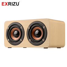 EXRIZU W5 Wood Boombox Wooden Box Wireless Bluetooth Speaker 10W High Power Subwoofer 2000mAh Battery Support TF Card AUX Cable