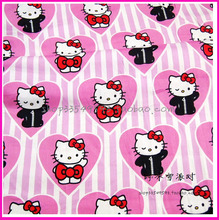 Hello Kitty Fabric140x50cm1pc100%Cotton Fabric Hello Kitty Cat Print Telas Patchwork Fabric Sewing Material DIY  Baby Clothing