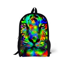 Cool 16 inch Children Backpacks 3D Animal Tiger Head Printing Backpack for Kids Tide Boys School Bag for High School Student(China)