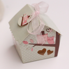 100Pcs Mini House Style Owl On the Branch Wedding Favors Chocolate Candy Boxes Gift Box,  no tags