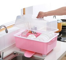 Kitchen cupboard plastic water lid dishes tableware storage box multifunctional bowl rack shelf L-027 Eco friendly