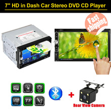"7"" Universal Automagnitola 2 Din Bluetooth Car Stereo DVD CD Player USB/TF FM Aux Input TV Radio Multimedia HD Rear View Camera(China)"