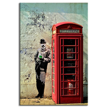 High Quality Promotion Gentleman With Red Telephone Booth Wall Art Modern Figures Print on Canvas Painting for Living Room Decor
