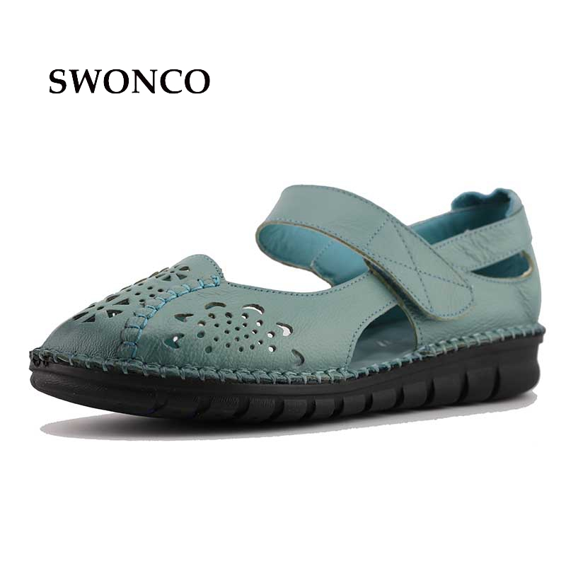 41 Summer Leather Handmade Mom Sandals Soft Bottom 2017 Summer New Toe  Cover Quality Flat Sandals Shoes Anti Slipping<br>