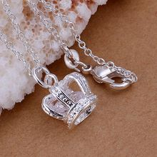 Free Shipping wholesale 2015 New silver-plated necklaces & pendants Insets Crown colares jewelry display(China)