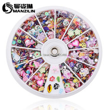 MANZILIN SP0001-53 Mixed Fimo Resin Sequin Colorful Glitter Nail Art Rhinestone Slice Decoration Manicure Nail Wheel Tools