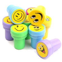Stampers Toys Gifts For Kids Draw Multicolor Plastic Rubber Self 10pcs/set Cute Emoji Smile Silly Face Rubber Stamps Set Inking
