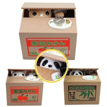 Lovely Cat Panda Itazura Automated Kitty Cat Steal Coin Savings Box Piggy Bank(China)