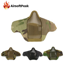 Tactical Paintball Masks Protective Airsoft Mask Outdoor Hunting Half Lower Face Metal Steel Net Mesh Mouth Half Face Mask(China)