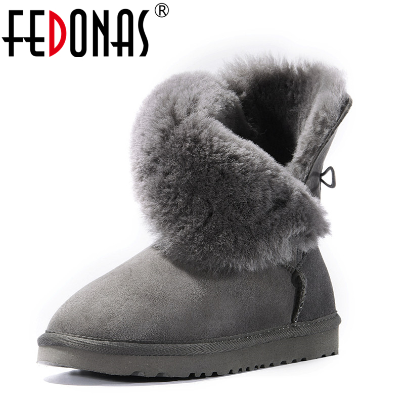 FEDONAS Women Cow Suede Mid-calf Boots Soft Genuine Leather Warm Wool Fur Snow Boots Women For Ladies Autumn Winter Shoes Woman<br>
