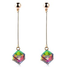 Fashion Long Earrings For Woman Jewelry Brincos Imitation Rhodium/ Gold-color Hot Sale Colorful Cube Crystal Stud Earring(China)