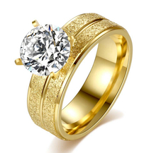 Fashion Weeding Rings Stainless Steel Four Claw Round Shinny Zircon Crystal Titanium Steel Gold Color anel For Women R185