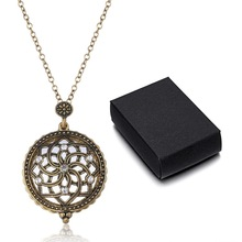 1PC New Magnifying Glass hollow out Pendant Necklace Reading Glass Crystals Flower Design gold-color Sweater necklace