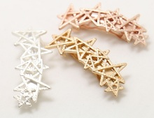 H40-015 Free Shipping 10pcs/Lot shiny ladies hair accessories cutout star french barrette hair clips
