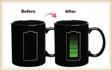 Creative Battery Color Changing Mugs Ceramic 300ml Magic Battery Color Ceramic Coffee Tea Drink Mug(China)