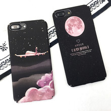 Lovely Letters Airplane frosted Hard Cover For iphone 6 6S 7 7Plus Cover Cartoon Sky Moon Stars Couples Phone Cases For iPhone 6