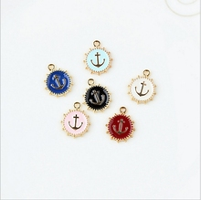 14*17mm Kawaii Anchor Shape Charm For diy Bracelet Key ring jewelry pendant supplies Decoration, Metal alloy Oil drop