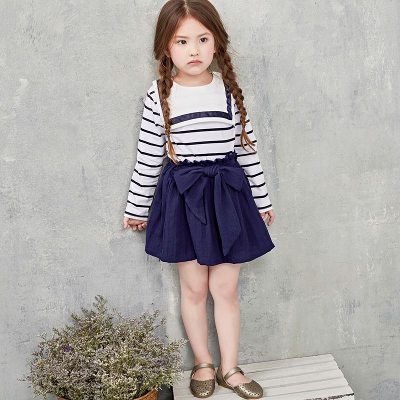 2017 spring summer girls clothes sets kids baby clothes girl dress knee length+t-shirt long sleeve stripe college naval style<br><br>Aliexpress
