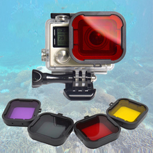 4 Colors/lot Lens Filter Diving Filter Gopro HERO 3+ 4 Camera Housing Case Underwater Lens Converter GoPro acessorios