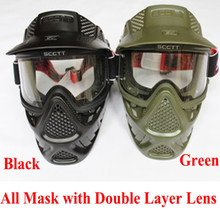 High qiality Tactical military anti fog lens face double mask new paintball Air soft Games Goggles(China)