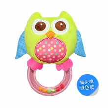 baby plush toy Zebra Giraffe Ring Balls Rattle beads owl bird chick Hand Training shakesmooth stable Rattles doll child gift(China)