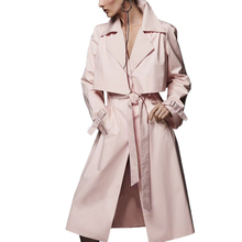 Hot Sales Long Solid Casual Belt Slim Women's Trench Coat Winter 2016 New Arrival Thin Pink Winter's Coats For Women F698