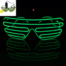 2016 Hot Sale New Arrival Hot Sale 10 Colours EL Wire Neon LED Light Up Shutter Fashionable Glasses for Costume Party Festival
