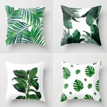 Manufacturers Wholesale Customized Flowers Plant Decor Artificial Green Leaves Pillow Leaf Cushion 40x40cm(China)